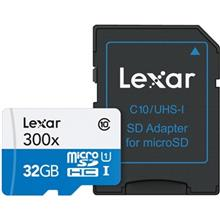 Lexar High-Performance UHS-I U1 Class 10 45MBps 300X microSDHC With Adapter - 32GB
