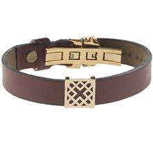 دستبند چرمی الف دال طرح 6 با پلاک طلا