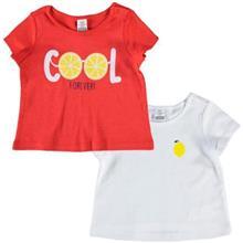 تی شرت دو عددی طرح پرتقال LC WalKiKi سایز ۶ تا ۹ ماه