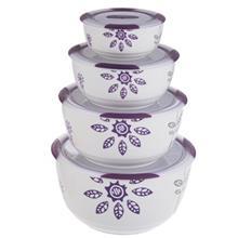 ست 4 تکه ظرف نگهدارنده باريکو مدل Round Purple Jasmine