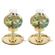 Anar Green Leaf 2 Pcs Lantern Candle