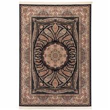 فرش ماشینی دنیای فرش طرح آرزو زمینه سورمه ای