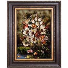 تابلو فرش گالری سی پرشیا طرح گل و گلدان داوودی کد 911012