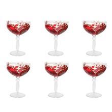 لیوان پایه بلند شیشه ای گالری انار مدل 134110 طرح انار مجموعه شش عددی
