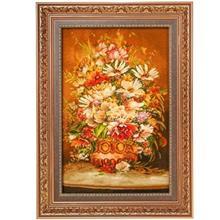 تابلو فرش چله ابریشم گالری مثالین مدل 25057 طرح گلدان