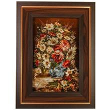 تابلو فرش چله ابریشم گالری مثالین طرح گلدان گل کد 25004