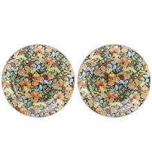 بشقاب خورش خوری شیشه ای گل دار گالری سیلیس مدل 180007 مجموعه دو عددی