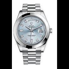 ساعت مچی رولکس مدل Rolex Day-Date II 41 President Platinum Watch Ice Blue Diamond Dial 218206