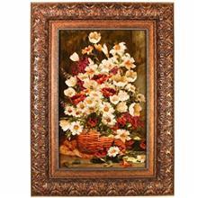 تابلو فرش چله ابریشم گالری مثالین طرح سبد گل 25006