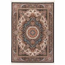 فرش ماشینی دنیای فرش طرح برکت زمینه سورمه ای