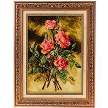 تابلو فرش چله ابریشم گالری مثالین مدل 25051 طرح گل رز