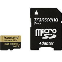Transcend Ultimate UHS-I U3 Class 10 95MBps 633X microSDXC With Adapter - 64GB