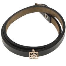 دستبند چرمی الف دال طرح 15 با پلاک طلا