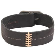 دستبند چرمی کارین پلاک طلا کد 177027 طرح گندم شوش