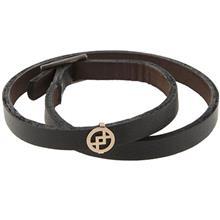 دستبند چرمی الف دال طرح 12 با پلاک طلا