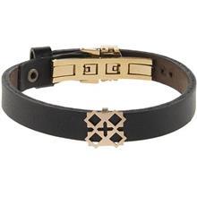 دستبند چرمی الف دال طرح 25 با پلاک طلا