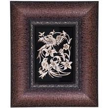 تابلو قلمزني اثر خرم نژاد طرح گل و مرغ سايز 33 × 27 سانتي متر